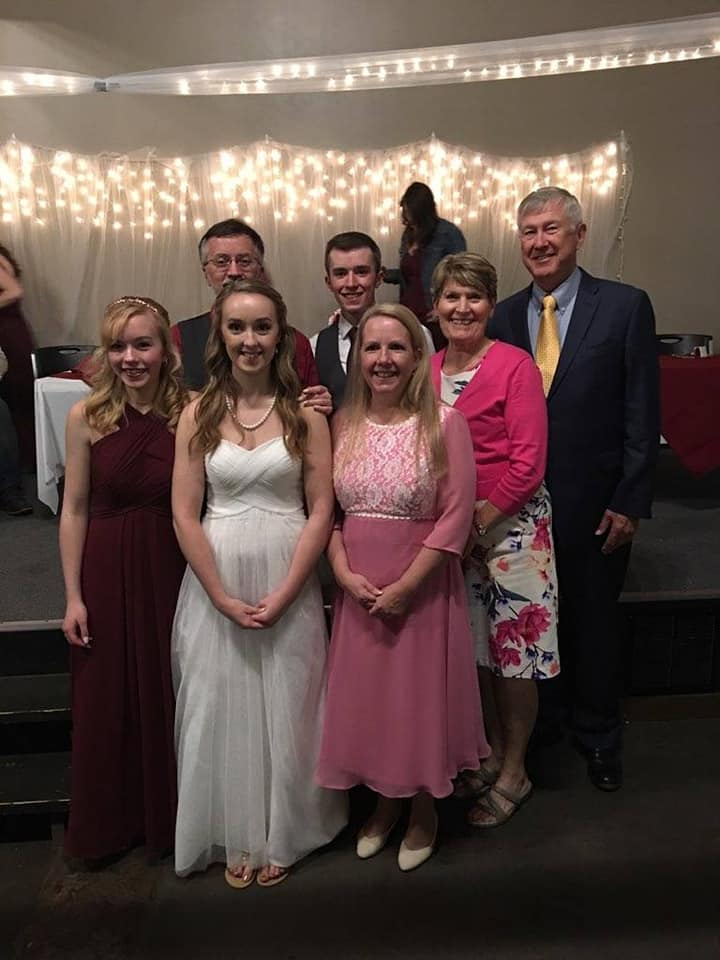 Family picture at daughter's wedding