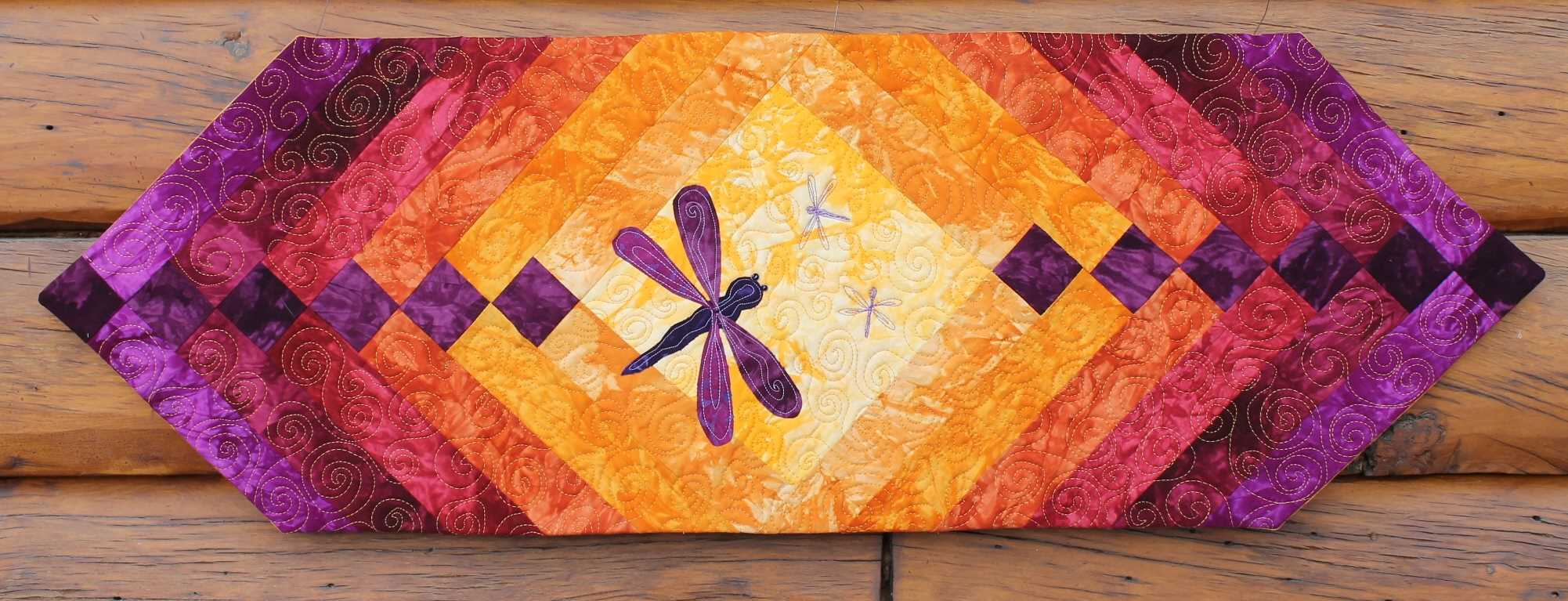 Dragonfly Quilted Table Runner