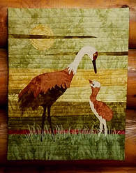 Sandhill crane quilted wall hanging