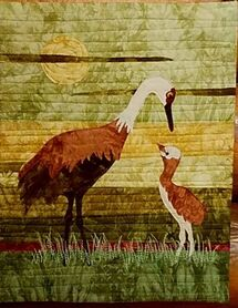 Crane Quilted Wall Hanging
