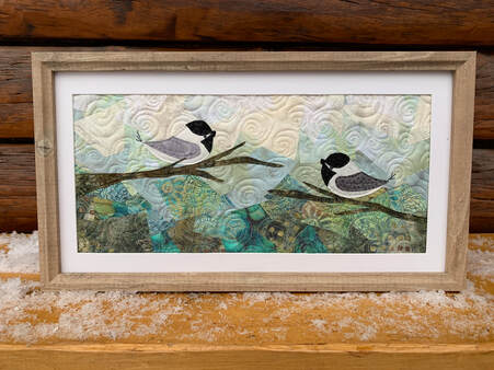 chickadee framed collage quilt