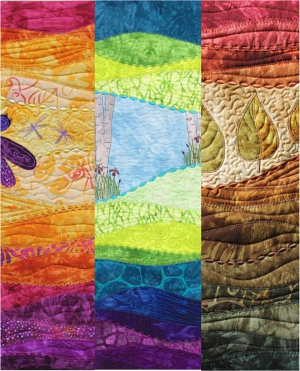 Wall hanging quilts showing decorative stiching