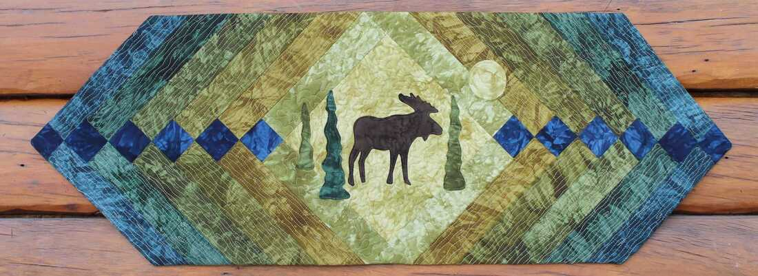 Moose Quilted Table Runner